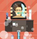 Vector иллюстрация мальчика чистя его зубы щеткой Иллюстрация вектора