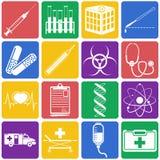 Vector иллюстрация медицинских значков на белой предпосылке Плоский s Стоковая Фотография
