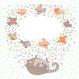 Vector иллюстрация милого кота и птиц. Карточка  Стоковое Изображение RF