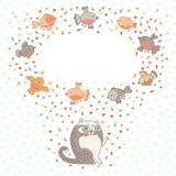Vector иллюстрация милого кота и птиц. Карточка  Стоковая Фотография