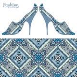 Vector иллюстрация моды, ботинки дам и безшовная картина Стоковое фото RF