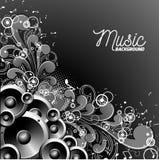 Vector иллюстрация музыки с дикторами на флористической предпосылке Стоковые Фото