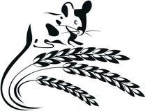 Vector иллюстрация мыши и колосков пшеницы Стоковая Фотография RF