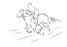 Vector иллюстрация наездника эскиза скакать на лошади Стоковые Изображения
