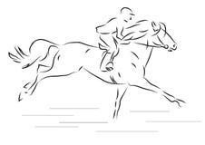 Vector иллюстрация наездника эскиза скакать на лошади Стоковое Изображение RF