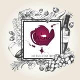 Vector иллюстрация нарисованная рукой вина и apetizers Квадратный состав границы Стоковое фото RF