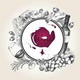 Vector иллюстрация нарисованная рукой вина и apetizers Круглый состав границы Стоковые Изображения