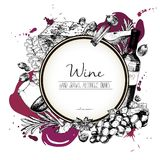 Vector иллюстрация нарисованная рукой вина и apetizers Круглый состав границы Стоковые Фото