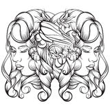 Vector иллюстрация нарисованная рукой молодой дамы с цветками и крылами Стоковая Фотография