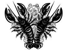 Vector иллюстрация нарисованная рукой омара в реалистическом стиле Стоковые Фотографии RF