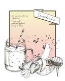 Vector иллюстрация нарисованная рукой рецепта smoothie клубники С трубкой опарника и коктеиля Стоковые Фото