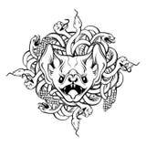 Vector иллюстрация нарисованная рукой сердитой летучей мыши и пук змеек Стоковое фото RF