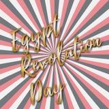 Vector иллюстрация на день революции Египта, ретро поздравительная открытка стиля с лучами и золотая надпись Стоковые Фотографии RF
