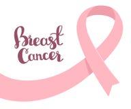 Vector иллюстрация на месяц осведомленности рака молочной железы с пинком Стоковое Изображение RF