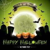 Vector иллюстрация на счастливой теме хеллоуина с pumkins. Стоковые Изображения