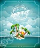 Vector иллюстрация на теме летнего отпуска с островом рая на предпосылке моря Стоковое Изображение