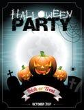 Vector иллюстрация на теме партии хеллоуина с pumkins. Стоковые Изображения