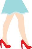 Vector иллюстрация ног женщины в красных ботинках Стоковые Фото