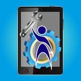 Vector иллюстрация логотипа, smiley для ремонта, обслуживания, телефона, компьтер-книжки Стоковые Фото