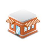 Vector иллюстрация оранжевого здания, вектор детализированный магазин Стоковые Изображения RF