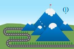 Vector иллюстрация дороги для того чтобы идти снег на верхней горе иллюстрация вектора