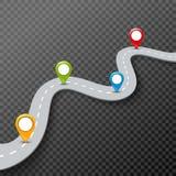 Vector иллюстрация дороги 3d infographic с штырем, указателем Концепция данным по улицы Штыри дороги асфальта infographic и красо Стоковое Изображение