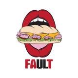 Vector иллюстрация открытого рта женщины с сандвичем Стоковое фото RF
