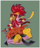 Vector иллюстрация петуха, символ 2017 на китайском календаре Кран силуэта красный, украшенный с цветочными узорами Стоковое Изображение