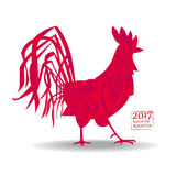 Vector иллюстрация петуха, символ 2017 на китайском календаре Кран силуэта красный, украшенный с цветочными узорами Стоковое Изображение RF
