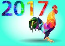 Vector иллюстрация петуха, символ 2017 Силуэт красного крана Стоковые Фотографии RF