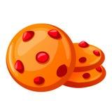 Vector иллюстрация, печенья шаржа значка, печенья при ягоды изолированные на белизне бесплатная иллюстрация