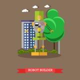 Vector иллюстрация построителя робота, плоский дизайн Стоковое Изображение RF