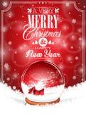 Vector иллюстрация праздника на теме рождества с глобусом снега против бесплатная иллюстрация