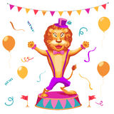Vector иллюстрация предпосылки представления цирка с милым львом Стоковые Изображения