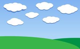Vector иллюстрация природы - зеленое небо луга и облака иллюстрация штока