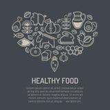 Vector иллюстрация при законспектированные значки еды формируя форму сердца иллюстрация вектора