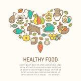 Vector иллюстрация при законспектированные значки еды формируя форму сердца Стоковая Фотография RF