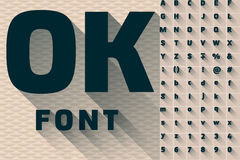 Vector иллюстрация плоского современного длинного прозрачного алфавита тени Стоковое Изображение
