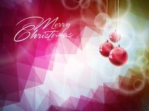 Vector иллюстрация рождества с красным стеклянным шариком на абстрактной геометрической предпосылке Стоковые Изображения RF
