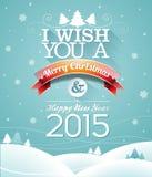 Vector иллюстрация рождества с типографским дизайном и лента на предпосылке снежинок Стоковая Фотография RF