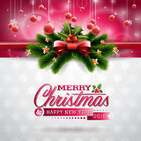 Vector иллюстрация рождества с типографским дизайном и сияющими элементами праздника на предпосылке снежинок Стоковая Фотография RF