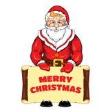 Vector иллюстрация Санта Клауса с знаменем с поздравлением с Рождеством Христовым Стоковое Изображение