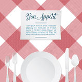 Vector иллюстрация сервировки стола с красной и белой скатертью Стоковые Фото