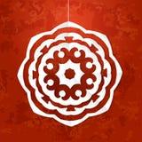 Vector иллюстрация снежинки белой бумаги на красной текстурированной предпосылке Иллюстрация штока