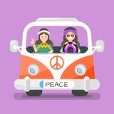 Vector иллюстрация счастливых человека и женщины hippie 2 иллюстрация штока