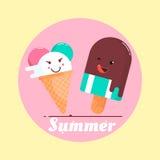 Vector иллюстрация с мороженым и летом фразы также вектор иллюстрации притяжки corel Стоковое фото RF