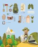 Vector иллюстрация с оборудованиями для пешего туризма, hiker и располагаться лагерем иллюстрация вектора