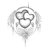 Vector иллюстрация с 3 поставленным точки сердцем и богато украшенный шнурок в черноте изолированный на белой предпосылке Элемент бесплатная иллюстрация