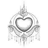 Vector иллюстрация с поставленным точки сердцем и декоративный богато украшенный шнурок в черноте изолированный на белой предпосы иллюстрация вектора