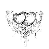 Vector иллюстрация с 2 поставленным точки сердцем и декоративный шнурок в черноте изолированный на белой предпосылке Элементы диз бесплатная иллюстрация